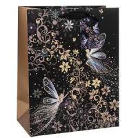 Fairyland Fairy Gift Bags, Gold Foil Art 26 x 32 x 13cm LARGE, Pack of 3